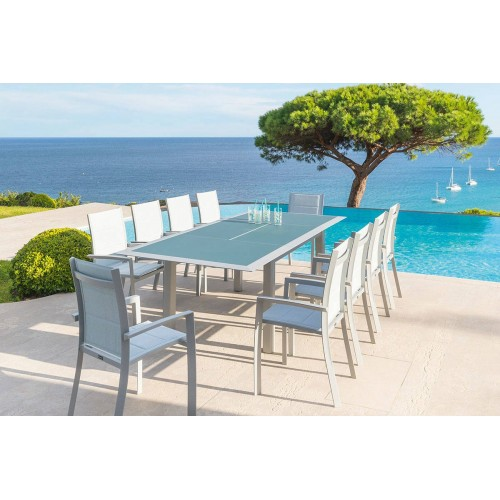 Table de jardin extensible ALLURE - 10 Personnes - Aluminium / Verre trempé