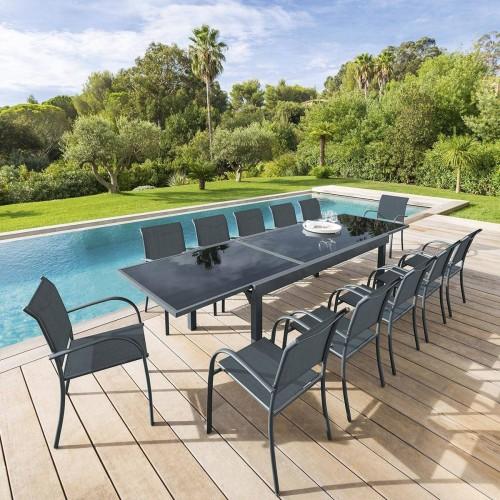 Table de jardin extensible PIAZZA - 12 Personnes - Aluminium / Verre trempé