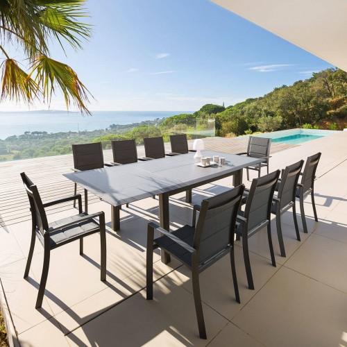 Table de jardin extensible ALLURE - 10 Personnes - Aluminium / HPL