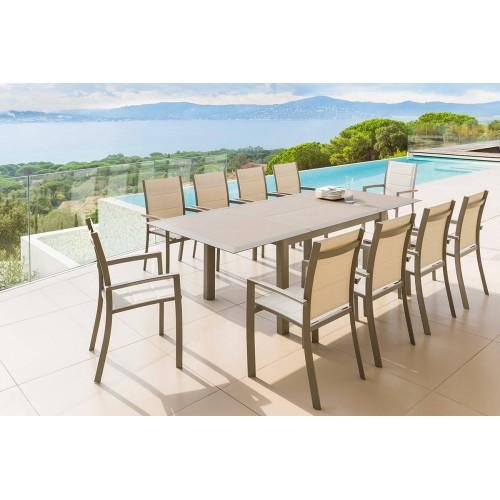 Table de jardin extensible ALLURE - 12 Personnes - Aluminium / Verre trempé