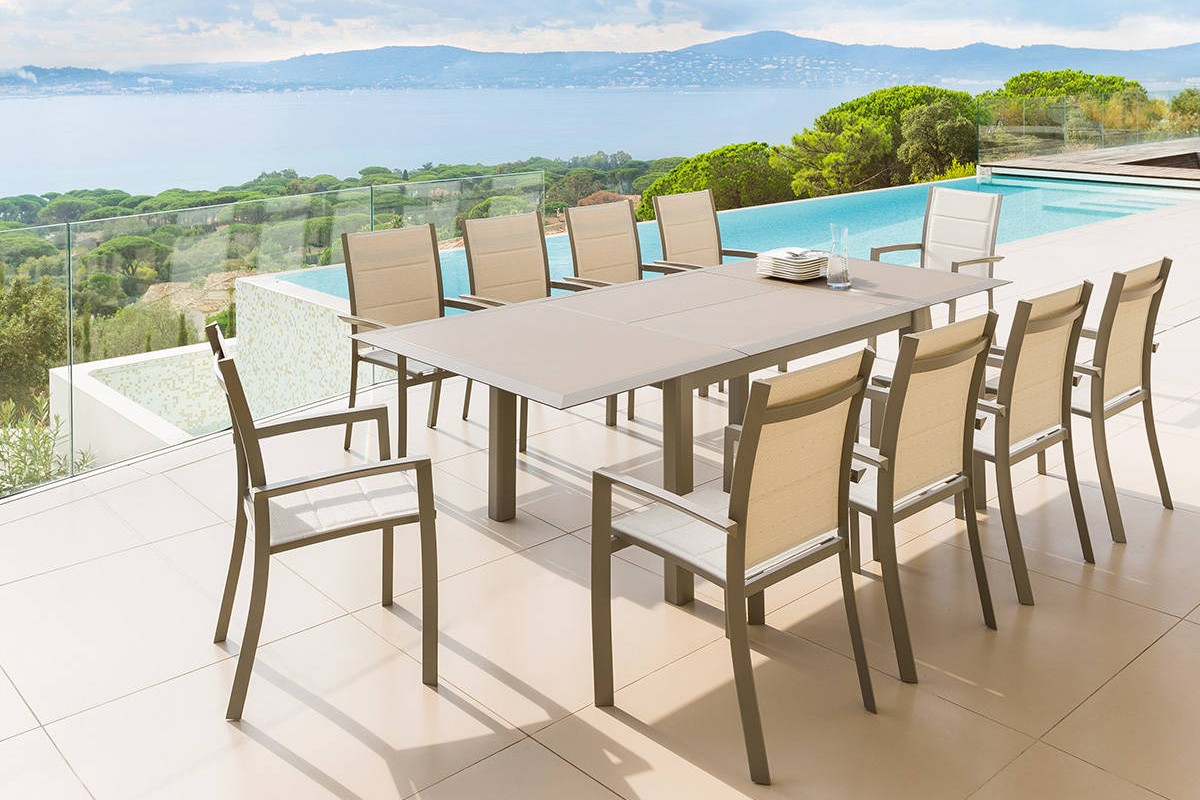 Table de jardin extensible ALLURE plateau verre 12 places - HESPERIDE