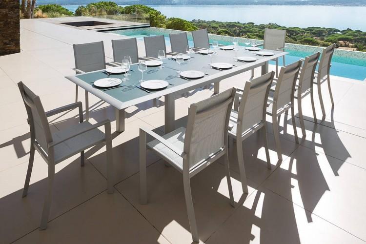 Table de jardin extensible allure plateau verre 12 places hesperide - Table de jardin aluminium 12 personnes ...