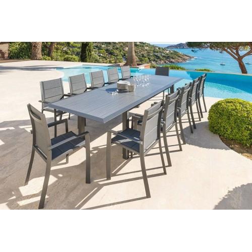 Table de jardin extensible ALLURE - 12 Personnes - Aluminium / HPL