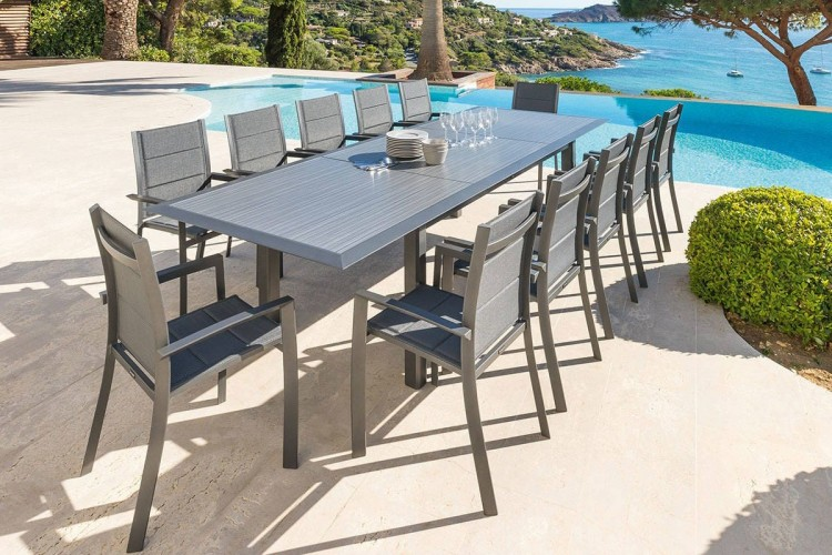 Table de jardin extensible ALLURE - 12 Personnes - Aluminium / HPL