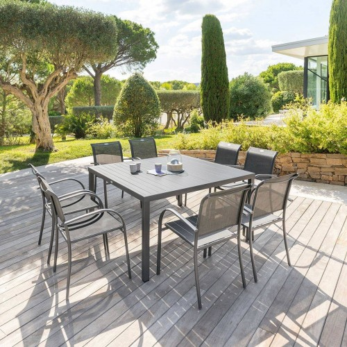 Table de jardin carrée PIAZZA - 8 Personnes - Aluminium