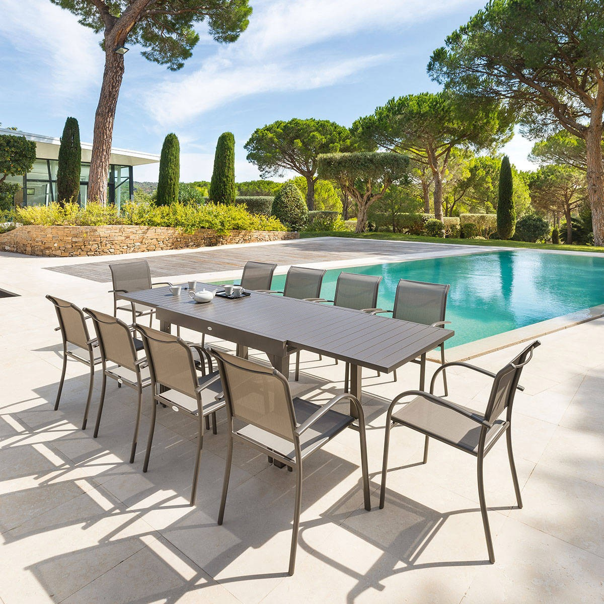 Table de jardin extensible PIAZZA - Hespéride - 10 Personnes - Aluminium