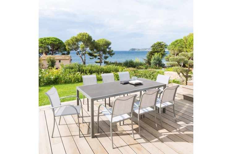 Table de jardin PIAZZA Hespéride - 8 Personnes - Aluminium / Verre trempé