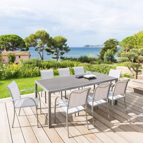 Table de jardin PIAZZA - 8 Personnes - Aluminium / Verre trempé