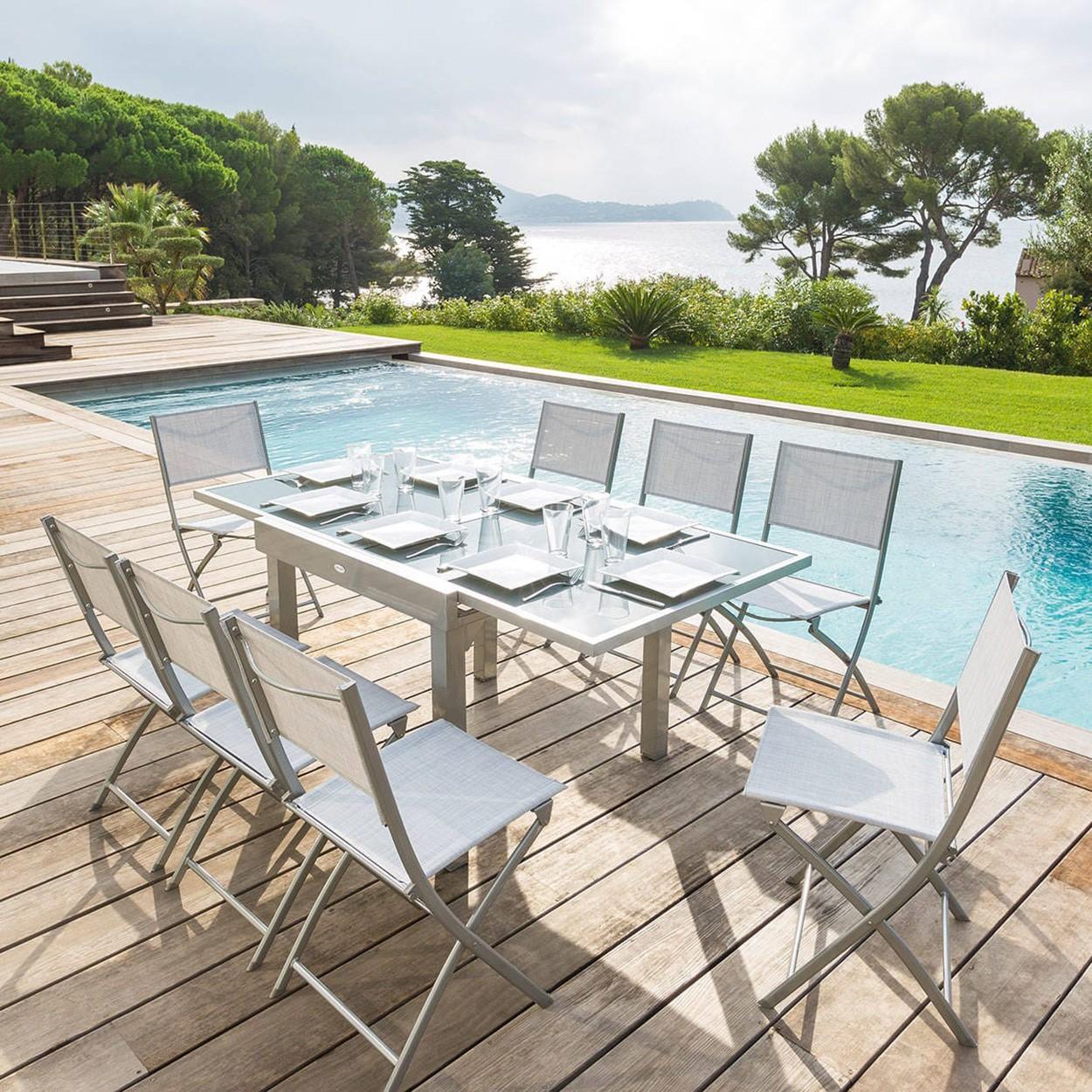 Table de jardin extensible PIAZZA - Hespéride - 8 Personnes ...