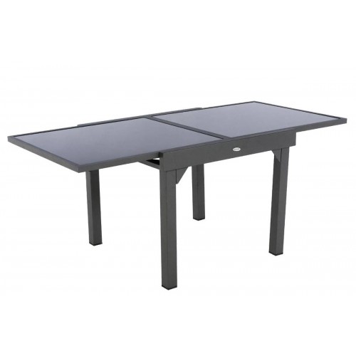 Table de jardin extensible PIAZZA - 8 Personnes - Aluminium / Verre trempé