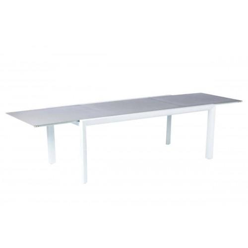 Table de jardin extensible TITANIUM - 12 Personnes - Aluminium / Verre émaillé